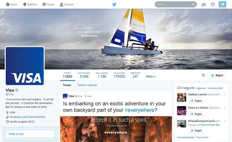 VISA e la nuova interfaccia di Twitter