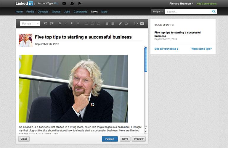 Un esempio di post su LinkedIn